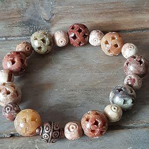 Soapstone Stretch Bracelet Natural Stone